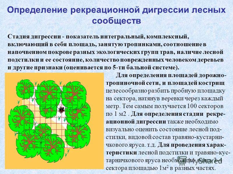 Определение рекреационной дигрессии лесных сообществ Стадия дигрессии - показатель интегральный, комплексный, включающий в себя площадь, занятую тропинками, соотношение в напочвенном покрове разных экологических групп трав, наличие лесной подстилки и