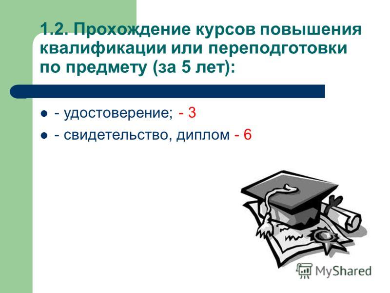 1.2. Прохождение курсов повышения квалификации или переподготовки по предмету (за 5 лет): - удостоверение; - 3 - свидетельство, диплом - 6