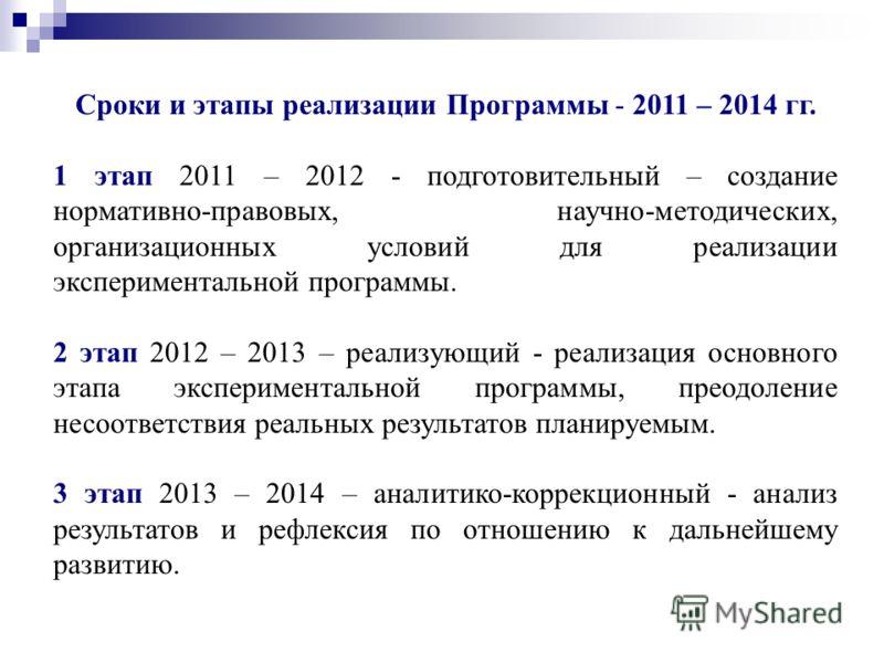 Сроки и этапы реализации Программы - 2011 – 2014 гг. 1 этап 2011 – 2012 - подготовительный – создание нормативно-правовых, научно-методических, организационных условий для реализации экспериментальной программы. 2 этап 2012 – 2013 – реализующий - реа