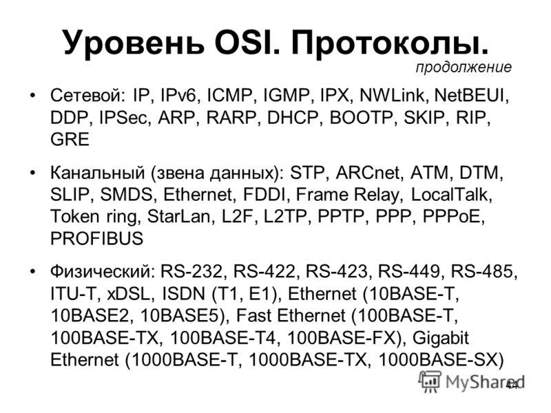 44 Уровень OSI. Протоколы. Сетевой: IP, IPv6, ICMP, IGMP, IPX, NWLink, NetBEUI, DDP, IPSec, ARP, RARP, DHCP, BOOTP, SKIP, RIP, GRE Канальный (звена данных): STP, ARCnet, ATM, DTM, SLIP, SMDS, Ethernet, FDDI, Frame Relay, LocalTalk, Token ring, StarLa