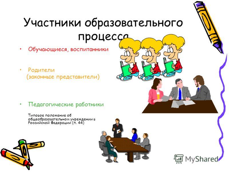 Участники образовательного процесса Обучающиеся, воспитанники Родители (законные представители) Педагогические работники Типовое положение об общеобразовательном учреждении в Российской Федерации (п. 44)