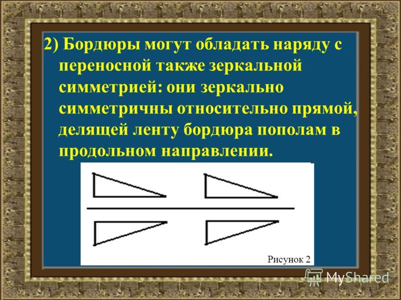 2) Бордюры могут обладать наряду с переносной также зеркальной симметрией: они зеркально симметричны относительно прямой, делящей ленту бордюра пополам в продольном направлении. Рисунок 2