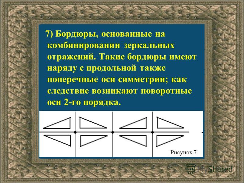 7) Бордюры, основанные на комбинировании зеркальных отражений. Такие бордюры имеют наряду с продольной также поперечные оси симметрии; как следствие возникают поворотные оси 2-го порядка. Рисунок 7
