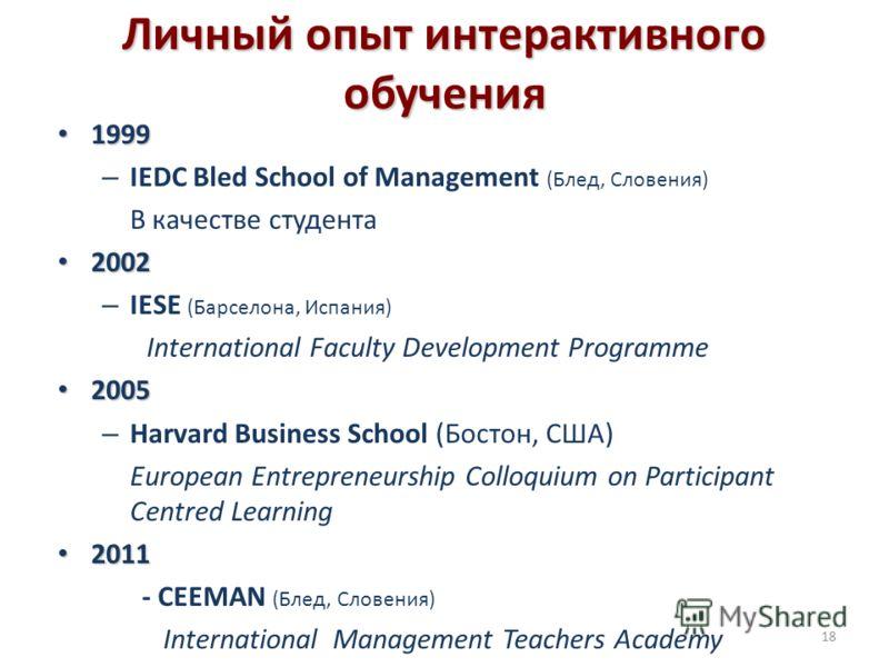 Личный опыт интерактивного обучения 1999 1999 – IEDC Bled School of Management (Блед, Словения) В качестве студента 2002 2002 – IESE (Барселона, Испания) International Faculty Development Programme 2005 2005 – Harvard Business School (Бостон, США) Eu