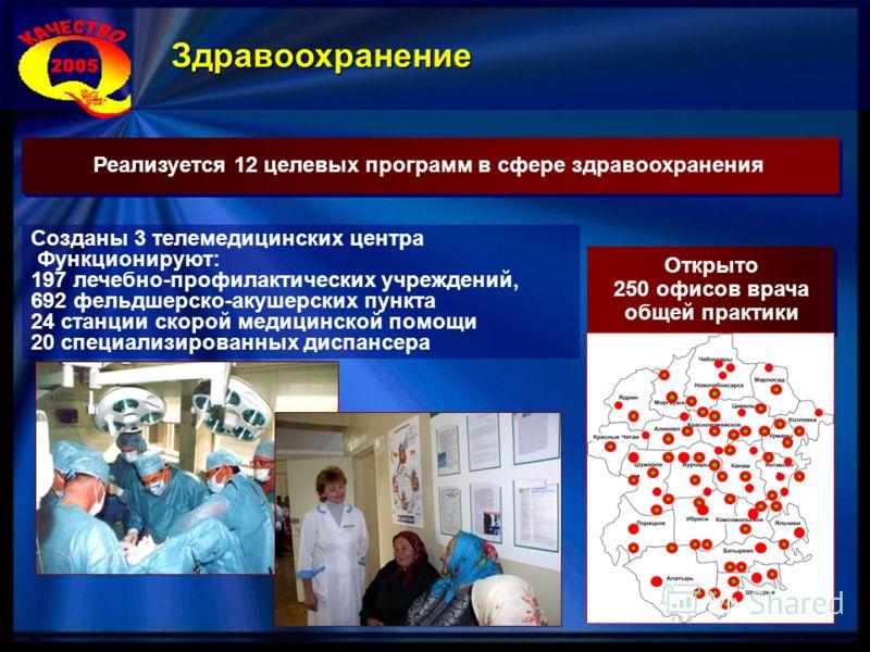 Реализуется 12 целевых программ в сфере здравоохранения Открыто 250 офисов врача общей практики Открыто 250 офисов врача общей практики Созданы 3 телемедицинских центра Функционируют: 197 лечебно-профилактических учреждений, 692 фельдшерско-акушерски