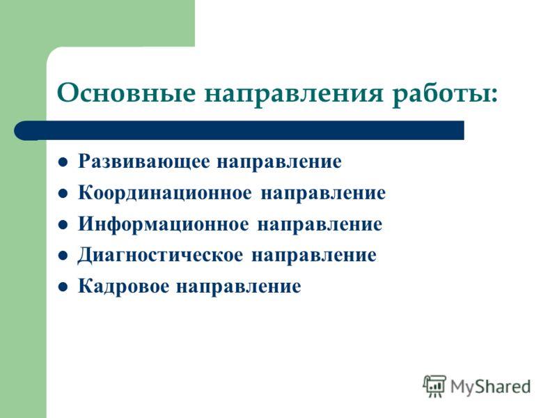 Основные направления работы: Развивающее направление Координационное направление Информационное направление Диагностическое направление Кадровое направление