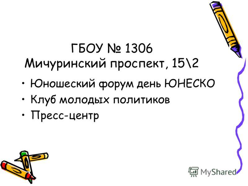 ГБОУ 1306 Мичуринский проспект, 15\2 Юношеский форум день ЮНЕСКО Клуб молодых политиков Пресс-центр