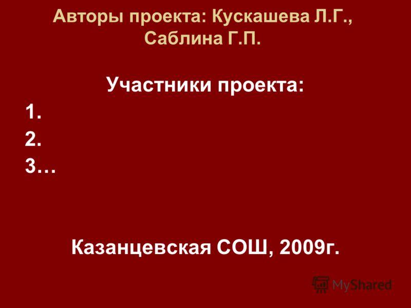 Авторы проекта: Кускашева Л.Г., Саблина Г.П. Участники проекта: 1. 2. 3… Казанцевская СОШ, 2009г.