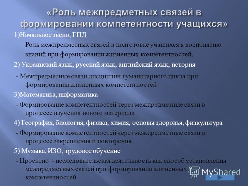 1) Начальное звено, ГПД - Роль межпредметных связей в подготовке учащихся к восприятию знаний при формировании жизненных компетентностей. 2) Украинский язык, русский язык, английский язык, история - Межпредметные связи дисциплин гуманитарного цикла п