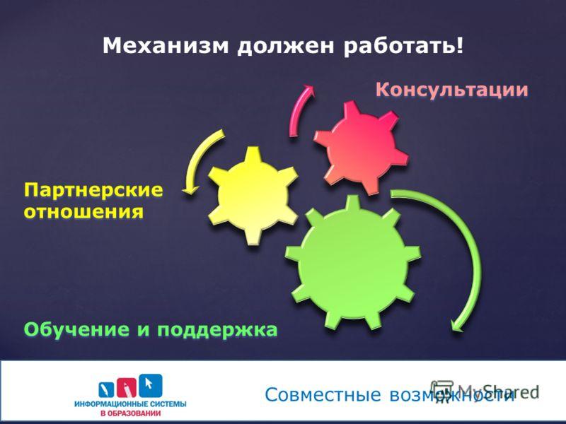 Механизм должен работать! Консультации Обучение и поддержка Партнерские отношения Совместные возможности