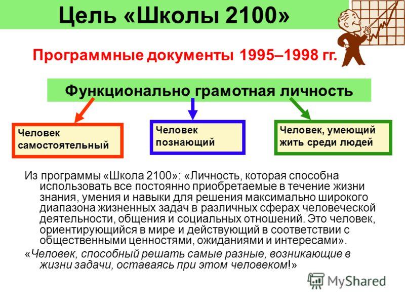 Цель «Школы 2100» Функционально грамотная личность Человек самостоятельный Человек познающий Человек, умеющий жить среди людей Из программы «Школа 2100»: «Личность, которая способна использовать все постоянно приобретаемые в течение жизни знания, уме
