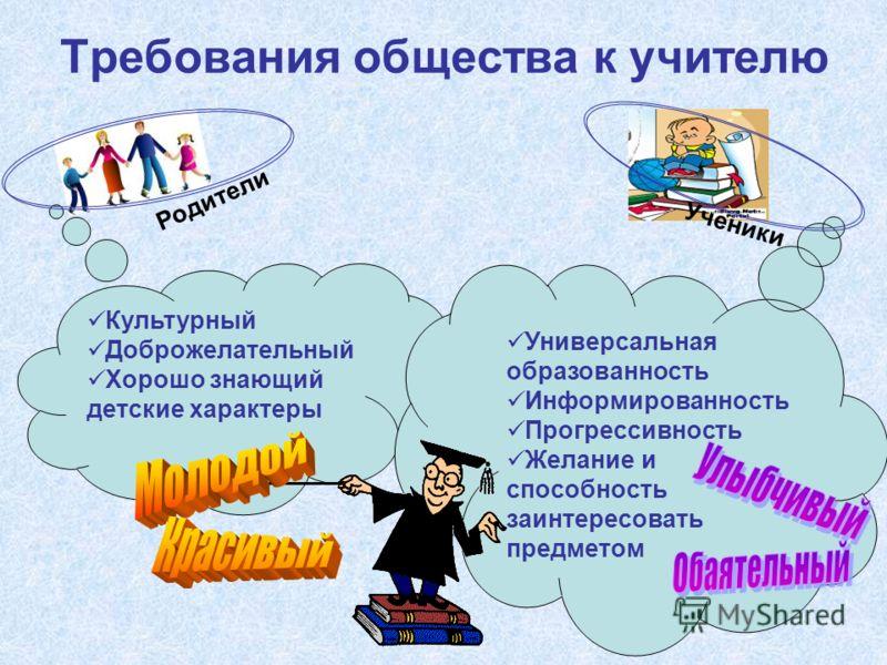 Требования общества к учителю Культурный Доброжелательный Хорошо знающий детские характеры Универсальная образованность Информированность Прогрессивность Желание и способность заинтересовать предметом Родители Ученики
