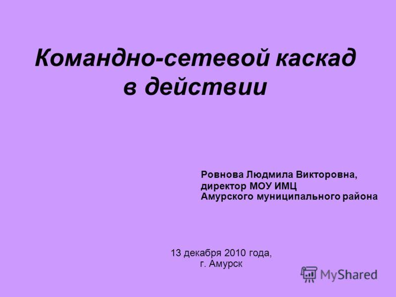 Командно-сетевой каскад в действии Ровнова Людмила Викторовна, директор МОУ ИМЦ Амурского муниципального района 13 декабря 2010 года, г. Амурск