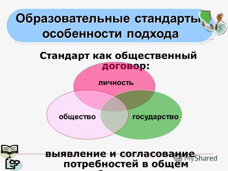 Образовательные стандарты: особенности подхода Образовательные стандарты: особенности подхода Стандарт как общественный договор: выявление и согласование потребностей в общем образовании личность обществогосударство