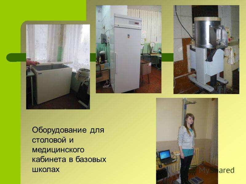 Оборудование для столовой и медицинского кабинета в базовых школах