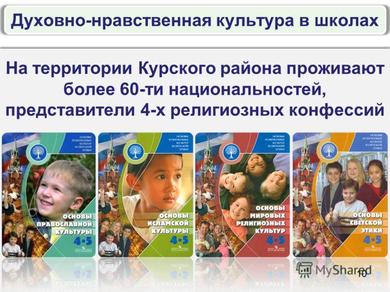 На территории Курского района проживают более 60-ти национальностей, представители 4-х религиозных конфессий 10 Духовно-нравственная культура в школах