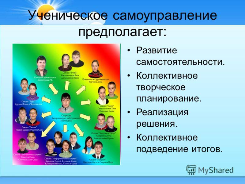 Ученическое самоуправление предполагает: Развитие самостоятельности. Коллективное творческое планирование. Реализация решения. Коллективное подведение итогов.