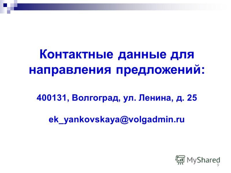Контактные данные для направления предложений: 400131, Волгоград, ул. Ленина, д. 25 ek_yankovskaya@volgadmin.ru 9
