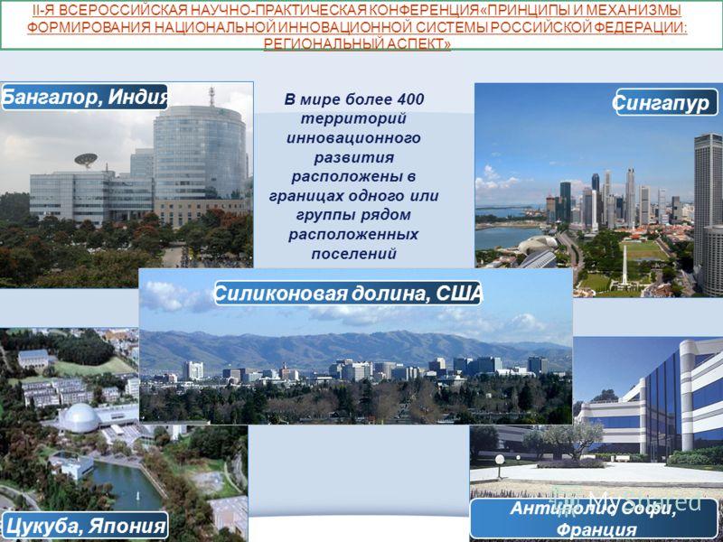 ОЭЗ «ДУБНА» Сингапур Цукуба, Япония Антиполис Софи, Франция Бангалор, Индия Силиконовая долина, США В мире более 400 территорий инновационного развития расположены в границах одного или группы рядом расположенных поселений II-Я ВСЕРОССИЙСКАЯ НАУЧНО-П