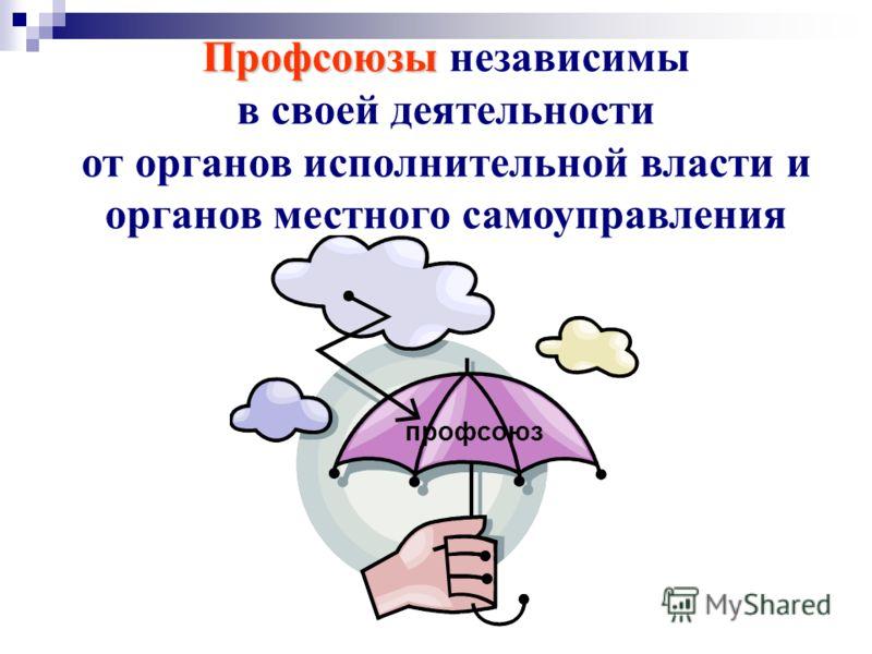 Профсоюзы Профсоюзы независимы в своей деятельности от органов исполнительной власти и органов местного самоуправления профсоюз