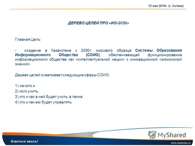 ДЕРЕВО ЦЕЛЕЙ ПРО «ИО-2030» Главная Цель: - создание в Казахстане к 2030г. мирового образца Системы Образования Информационного Общества (СОИО), обеспечивающей функционирование информационного общества как «интеллектуальной нации» с инновационной «эко