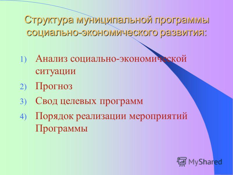 Структура муниципальной программы социально-экономического развития: 1) Анализ социально-экономической ситуации 2) Прогноз 3) Свод целевых программ 4) Порядок реализации мероприятий Программы