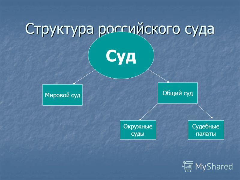 Структура российского суда Суд Общий суд Мировой суд Окружные суды Судебные палаты