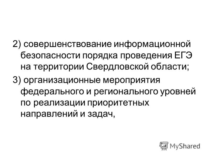 2) совершенствование информационной безопасности порядка проведения ЕГЭ на территории Свердловской области; 3) организационные мероприятия федерального и регионального уровней по реализации приоритетных направлений и задач,