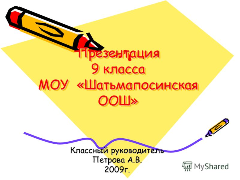 Презентация 9 класса МОУ «Шатьмапосинская ООШ» Классный руководитель Петрова А.В. 2009г.