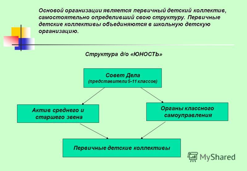 Детская организация «Юность» на добровольных и равноправных началах входит в состав районной детской организации «Радуга». Действует в соответствии с конституцией РФ и обеспечивает координацию и взаимодействие детских коллективов друг с другом и разл