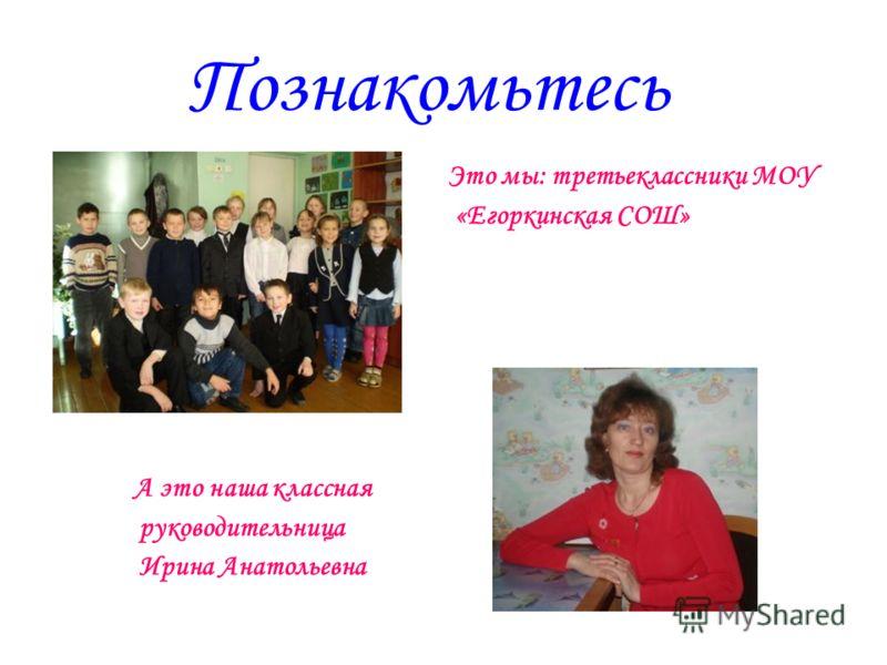 Познакомьтесь Это мы: третьеклассники МОУ «Егоркинская СОШ» А это наша классная руководительница Ирина Анатольевна