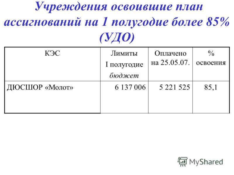 Учреждения освоившие план ассигнований на 1 полугодие более 85% (УДО) КЭСЛимиты I полугодие бюджет Оплачено на 25.05.07. % освоения ДЮСШОР «Молот»6 137 0065 221 52585,1