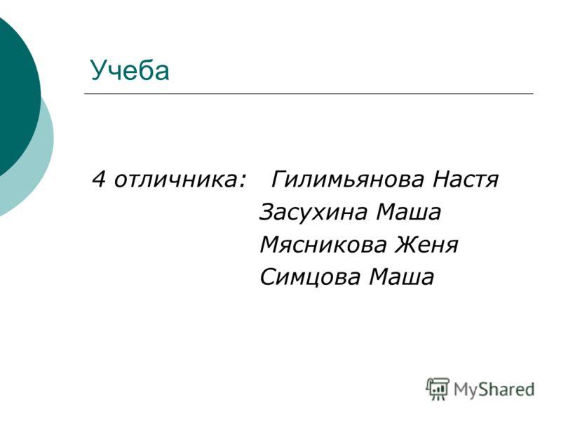 Учеба 4 отличника: Гилимьянова Настя Засухина Маша Мясникова Женя Симцова Маша