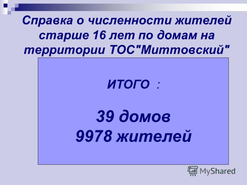 Справка о численности жителей старше 16 лет по домам на территории ТОСМиттовский ИТОГО : 39 домов 9978 жителей