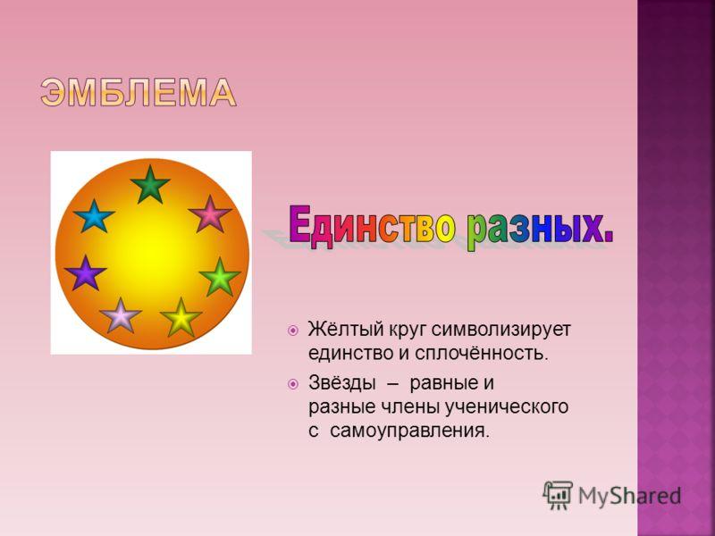 Жёлтый круг символизирует единство и сплочённость. Звёзды – равные и разные члены ученического с самоуправления.