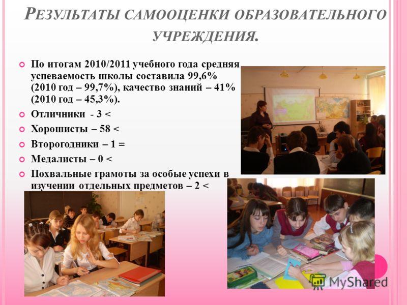 Р ЕЗУЛЬТАТЫ САМООЦЕНКИ ОБРАЗОВАТЕЛЬНОГО УЧРЕЖДЕНИЯ. По итогам 2010/2011 учебного года средняя успеваемость школы составила 99,6% (2010 год – 99,7%), качество знаний – 41% (2010 год – 45,3%). Отличники - 3 < Хорошисты – 58 < Второгодники – 1 = Медалис