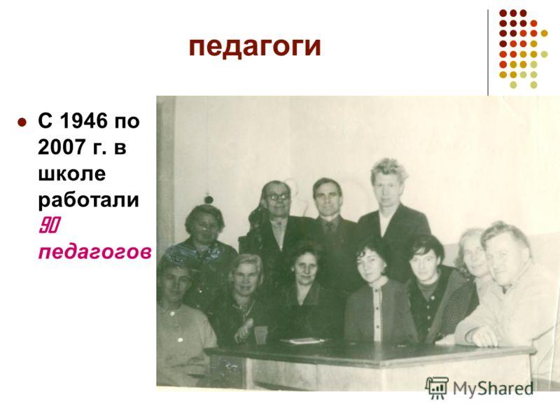 педагоги С 1946 по 2007 г. в школе работали 90 педагогов
