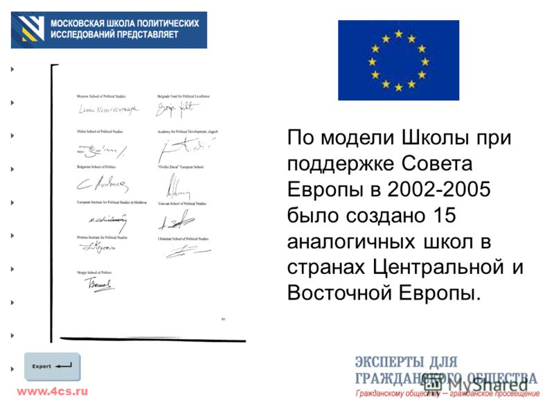 www.4cs.ru По модели Школы при поддержке Совета Европы в 2002-2005 было создано 15 аналогичных школ в странах Центральной и Восточной Европы.