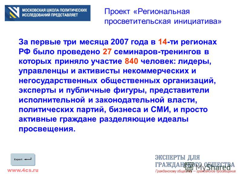 www.4cs.ru Проект «Региональная просветительская инициатива» За первые три месяца 2007 года в 14-ти регионах РФ было проведено 27 семинаров-тренингов в которых приняло участие 840 человек: лидеры, управленцы и активисты некоммерческих и негосударстве