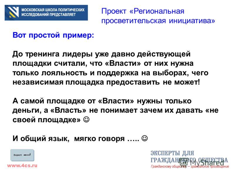 www.4cs.ru Проект «Региональная просветительская инициатива» Вот простой пример: До тренинга лидеры уже давно действующей площадки считали, что «Власти» от них нужна только лояльность и поддержка на выборах, чего независимая площадка предоставить не