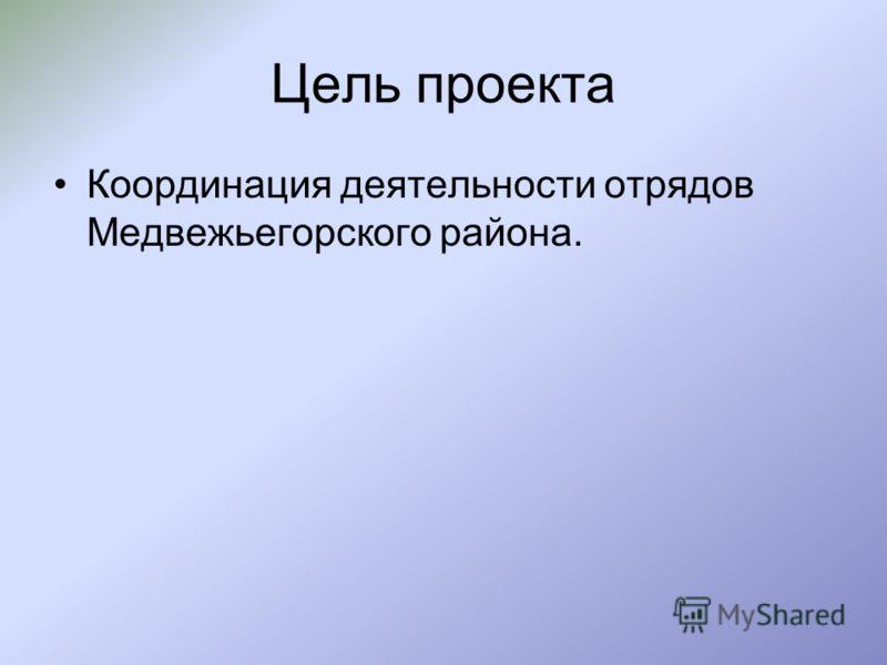 Цель проекта Координация деятельности отрядов Медвежьегорского района.