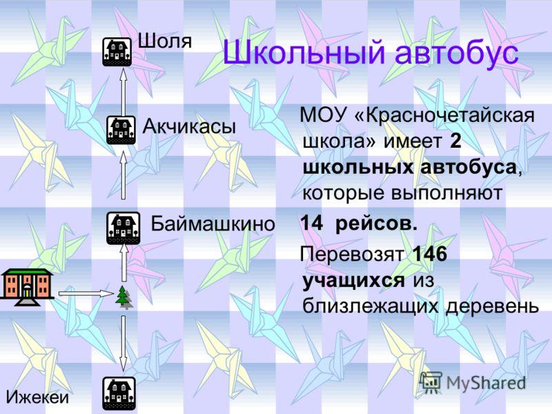 Школьный автобус 2 МОУ «Красночетайская школа» имеет 2 школьных автобуса, которые выполняют 14 рейсов. Перевозят 146 учащихся из близлежащих деревень Шоля Акчикасы Баймашкино Ижекеи