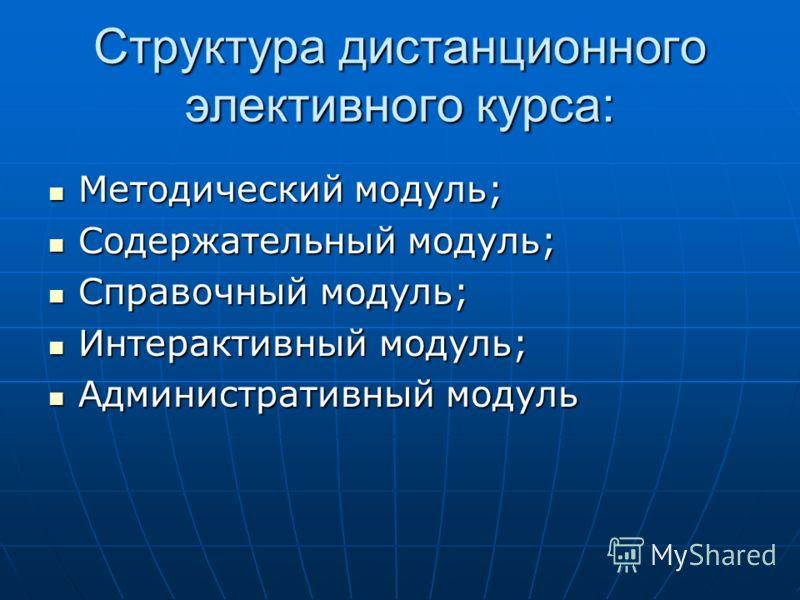 Структура дистанционного элективного курса: Методический модуль; Методический модуль; Содержательный модуль; Содержательный модуль; Справочный модуль; Справочный модуль; Интерактивный модуль; Интерактивный модуль; Административный модуль Администрати