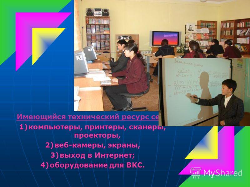 Имеющийся технический ресурс сети 1)компьютеры, принтеры, сканеры, проекторы, 2)веб-камеры, экраны, 3)выход в Интернет; 4)оборудование для ВКС.