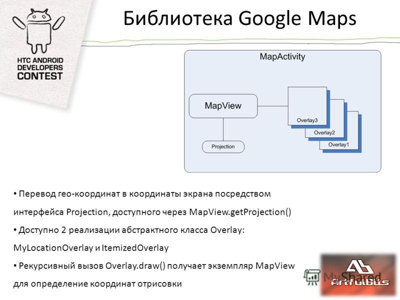 Библиотека Google Maps Перевод гео-координат в координаты экрана посредством интерфейса Projection, доступного через MapView.getProjection() Доступно 2 реализации абстрактного класса Overlay: MyLocationOverlay и ItemizedOverlay Рекурсивный вызов Over