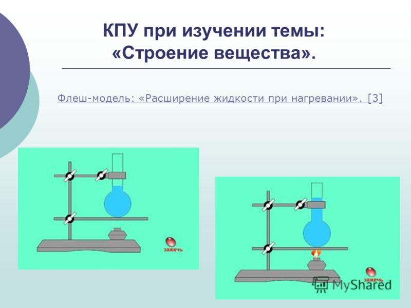 КПУ при изучении темы: «Строение вещества». Флеш-модель: «Расширение жидкости при нагревании». [3]