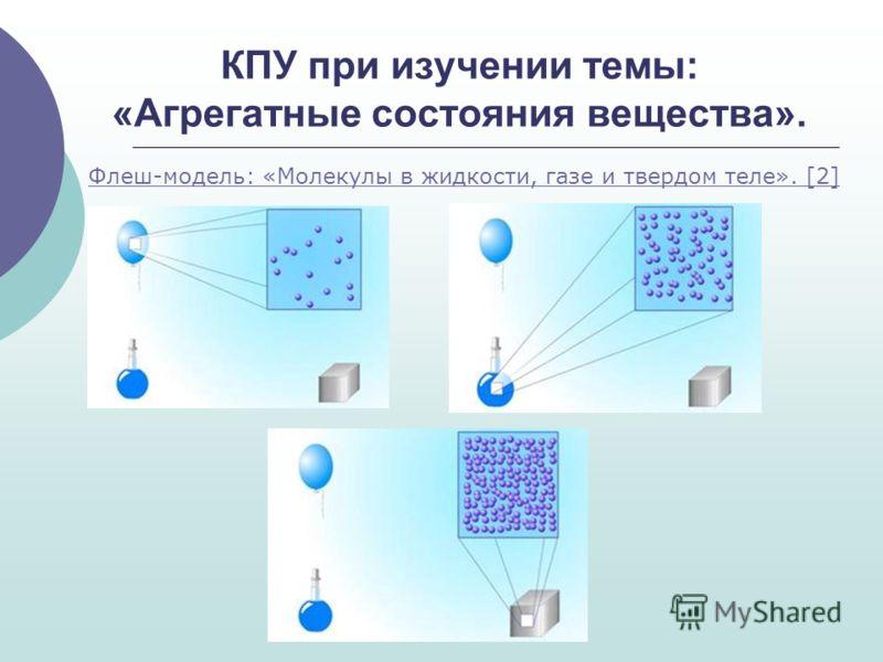 КПУ при изучении темы: «Агрегатные состояния вещества». Флеш-модель: «Молекулы в жидкости, газе и твердом теле». [2]
