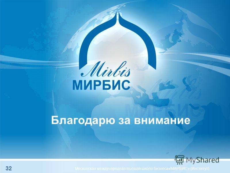Благодарю за внимание Московская международная высшая школа бизнеса«МИРБИС» (Институт) 32