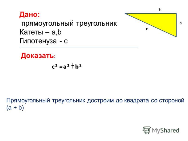 Дано: прямоугольный треугольник Катеты – a,b Гипотенуза - c Доказать : c 2 =a 2 b 2 c 2 =a 2 +b 2 a c b Прямоугольный треугольник достроим до квадрата со стороной (a + b)