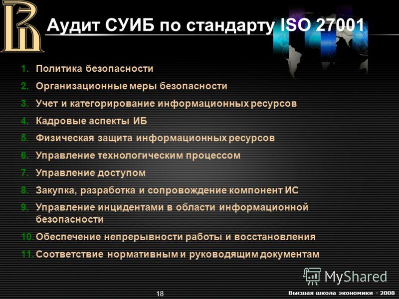 Высшая школа экономики - 2008 18 Аудит СУИБ по стандарту ISO 27001 1.Политика безопасности 2.Организационные меры безопасности 3.Учет и категорирование информационных ресурсов 4.Кадровые аспекты ИБ 5.Физическая защита информационных ресурсов 6.Управл